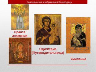 Канонические изображения Богородицы Оранта Знамение Одигитрия (Путеводительни