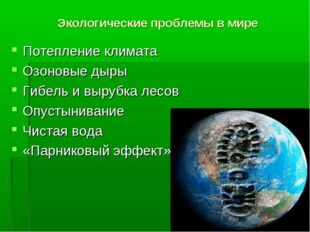 Экологические проблемы в мире Потепление климата Озоновые дыры Гибель и выруб
