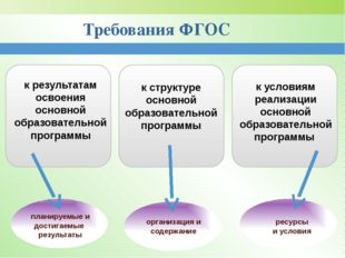 Требования ФГОС к результатам освоения основной образовательной программы к с