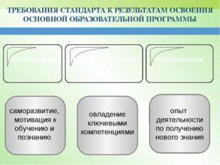 ТРЕБОВАНИЯ СТАНДАРТА К РЕЗУЛЬТАТАМ ОСВОЕНИЯ ОСНОВНОЙ ОБРАЗОВАТЕЛЬНОЙ ПРОГРАМ
