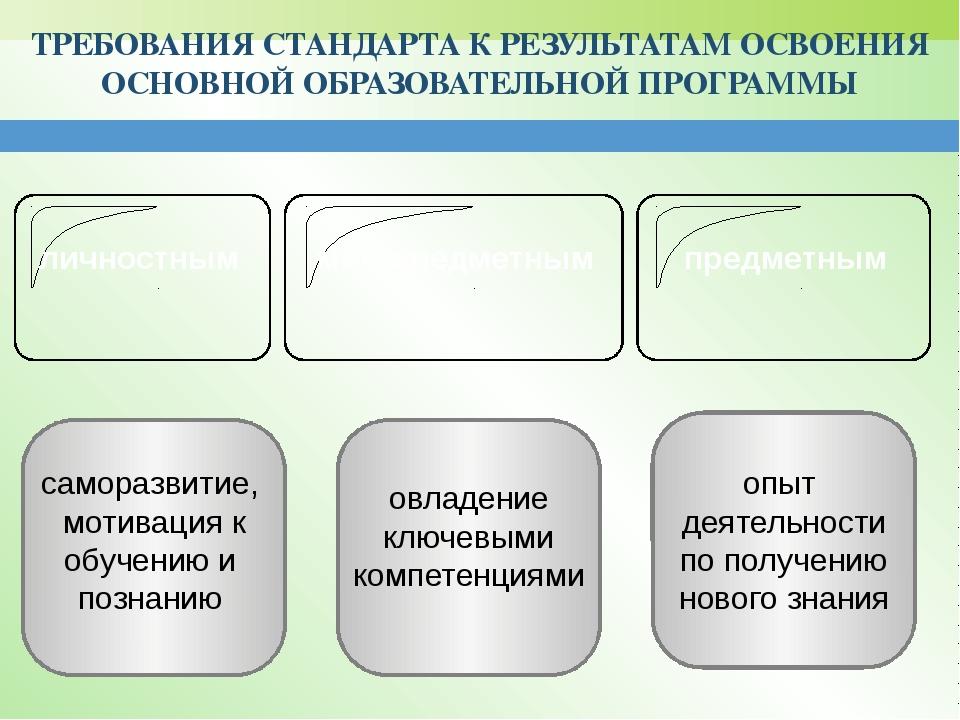 ТРЕБОВАНИЯ СТАНДАРТА К РЕЗУЛЬТАТАМ ОСВОЕНИЯ ОСНОВНОЙ ОБРАЗОВАТЕЛЬНОЙ ПРОГРАМ...