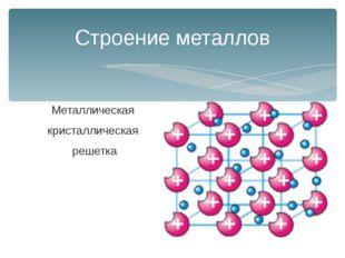 Металлическая кристаллическая решетка Строение металлов