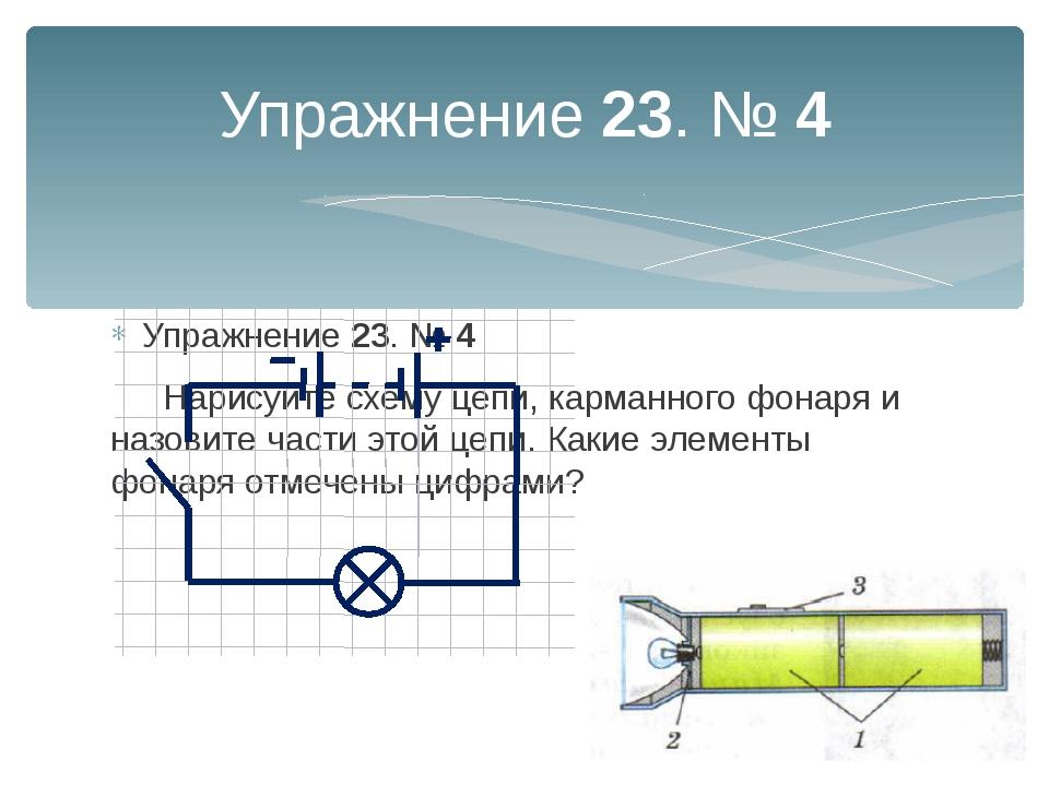 Упражнение 23. № 4 Упражнение 23. № 4 Нарисуйте схему цепи, карманного фонар...