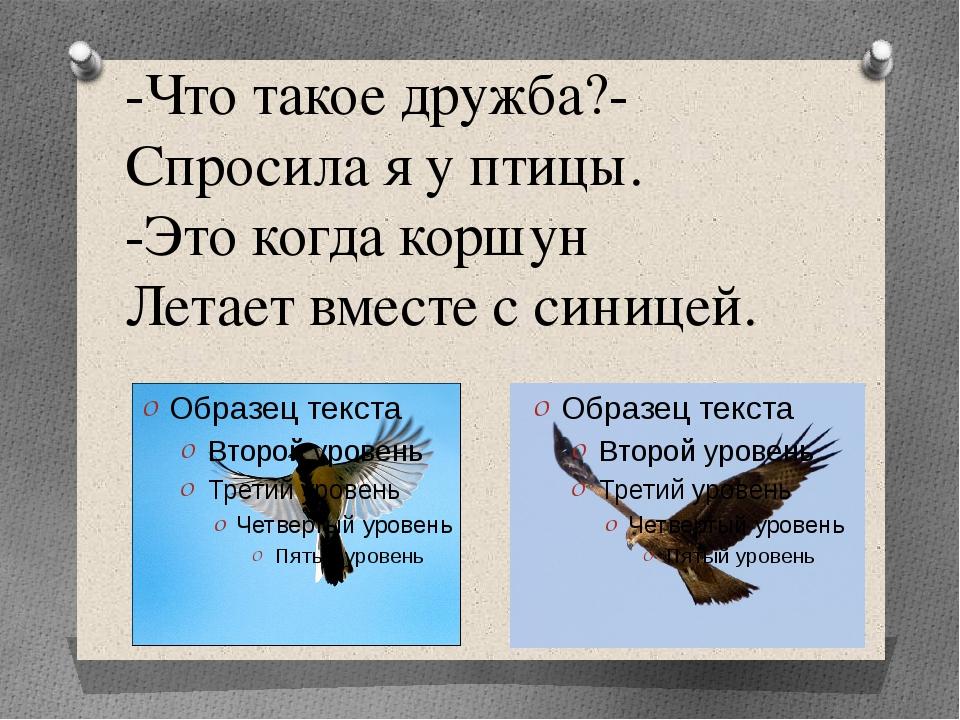 -Что такое дружба?- Спросила я у птицы. -Это когда коршун Летает вместе с син...
