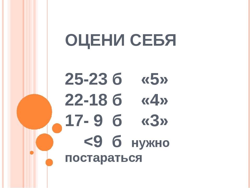 ОЦЕНИ СЕБЯ 25-23 б «5» 22-18 б «4» 17- 9 б «3»