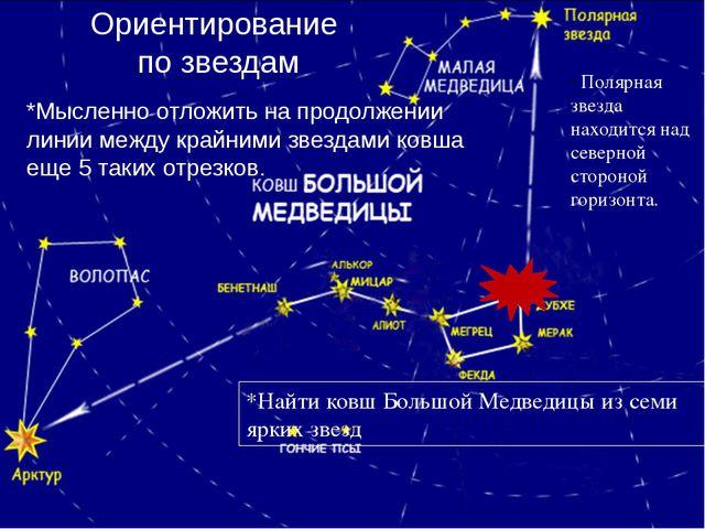 *Найти ковш Большой Медведицы из семи ярких звезд *Мысленно отложить на продо...