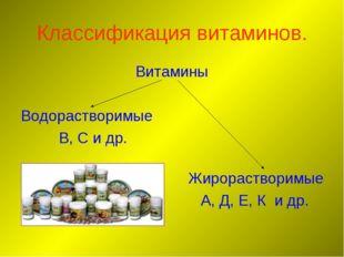 Классификация витаминов. Витамины Водорастворимые В, С и др. Жирорастворимые