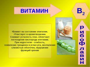 ВИТАМИН B2 Влияет на состояние эпителия. Участвует в кроветворении. Снижает у