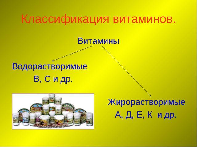 Классификация витаминов. Витамины Водорастворимые В, С и др. Жирорастворимые...