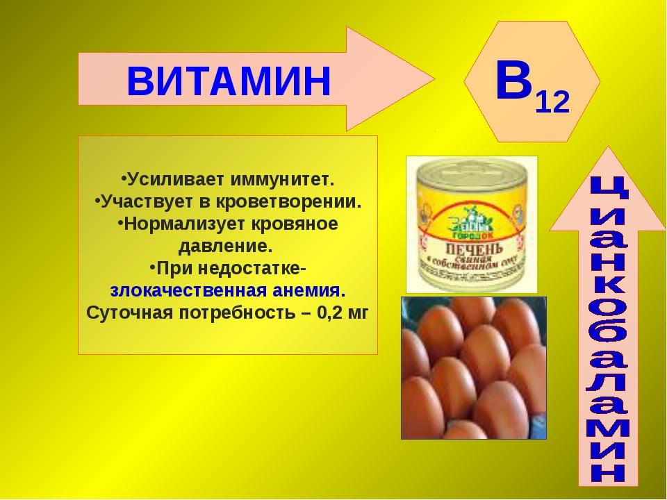 ВИТАМИН B12 Усиливает иммунитет. Участвует в кроветворении. Нормализует кровя...