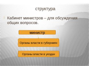 структура Кабинет министров – для обсуждения общих вопросов. министр Органы в