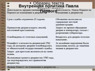 Внутренняя политика Павла Первого Деятельность предшественников Павла Первог