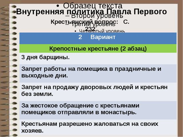 Тест Внутренняя политика Павла Первого Крестьянский вопрос: С. 232 2 Вариант...