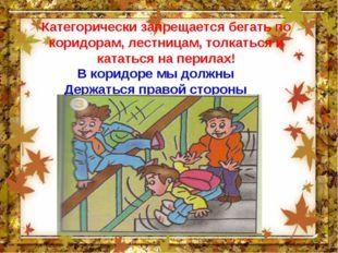 Категорически запрещается бегать по коридорам, лестницам, толкаться и кататьс