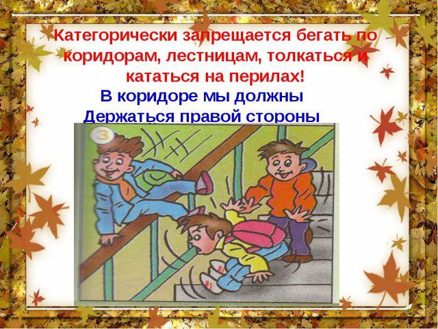 Категорически запрещается бегать по коридорам, лестницам, толкаться и кататьс...