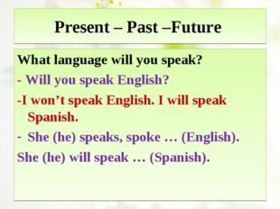 Present – Past –Future What language will you speak? - Will you speak English