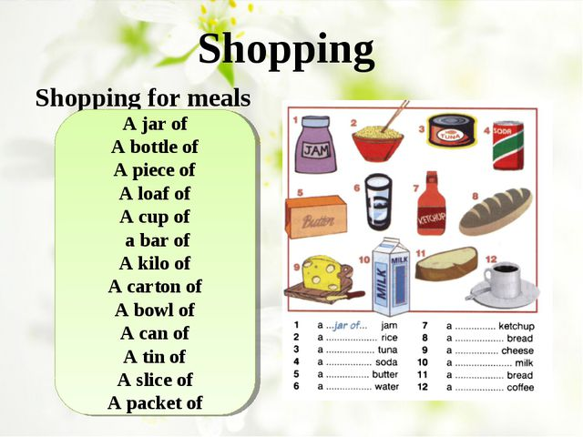 Shopping Shopping for meals A jar of A bottle of A piece of A loaf of A cup o...