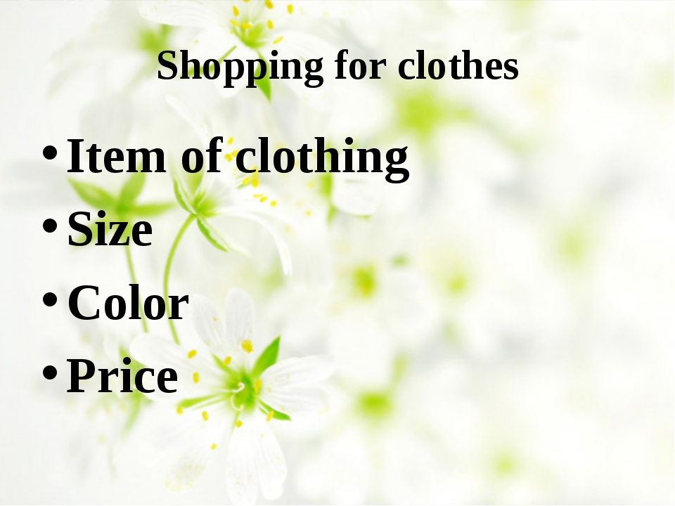 Shopping for clothes Item of clothing Size Color Price
