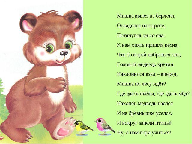 Мишка вылез из берлоги, Огляделся на пороге, Потянулся он со сна: К нам опять...