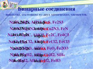 NaСl, MgСl2, AlСl3, FeCl2, FeCl3 Бинарные соединения Na2S, MgS, Al2S3, FeS, F