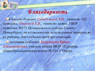 Благодарность Спасибо большое Гибадулиной З.М., учителю 102 гимназии, Озерово