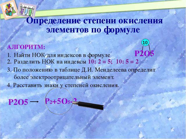 Определение степени окисления элементов по формуле АЛГОРИТМ: Найти НОК для и...
