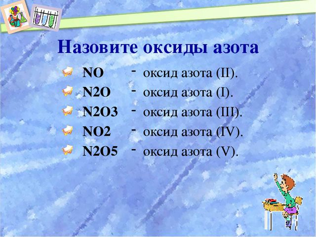 Назовите оксиды азота NO N2O N2O3 NO2 N2O5 оксид азота (II). оксид азота (I)....