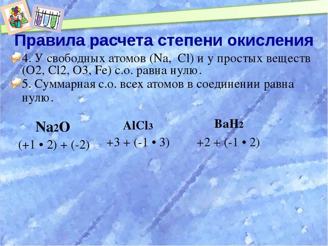 Правила расчета степени окисления 4. У свободных атомов (Na, Cl) и у простых...