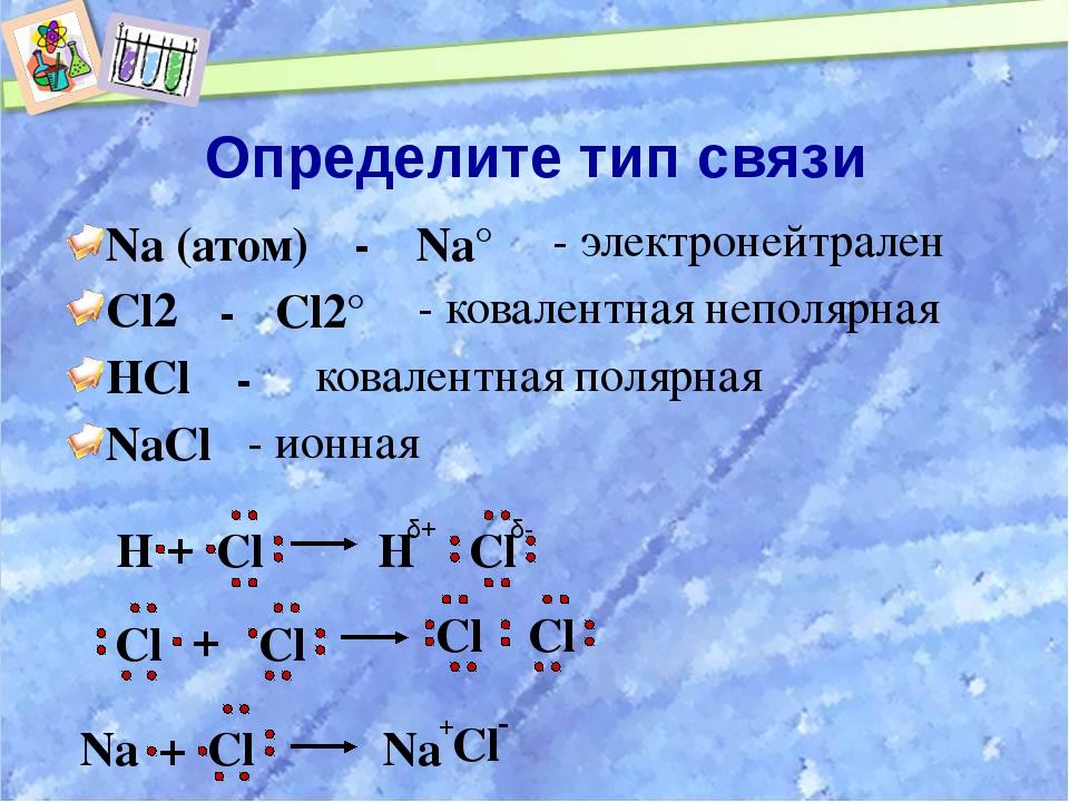 Определите тип связи Na (атом) Cl2 HCl NaCl Na° - электронейтрален - - Cl2° -...