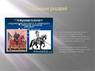 Снаряжение рыцарей Немецкие воины сами были одеты в доспехи и их кони также б