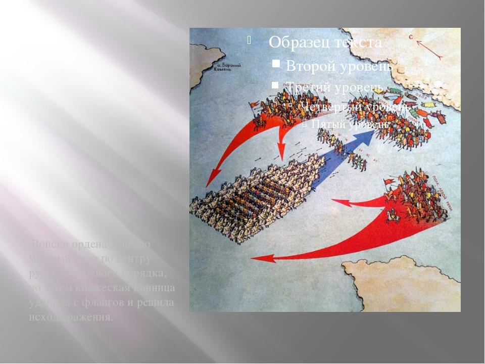 Ход сражения Войско ордена нанесло мощный удар по центру русского боевого пор...