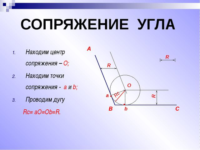 Находим центр сопряжения – О; Находим точки сопряжения - a и b; Проводим дуг...