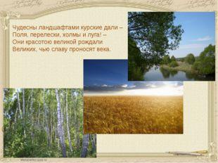 Чудесны ландшафтами курские дали – Поля, перелески, холмы и луга! – Они красо