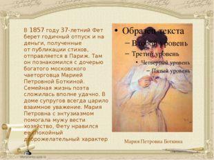 Мария Петровна Боткина В1857 году 37-летний Фет берет годичный отпуск ина д