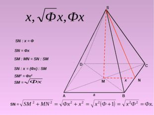 М N A B C D S x a SN : x = Ф SN = Фх SM : MN = SN : SM SN : x = (Фх) : SM SM2
