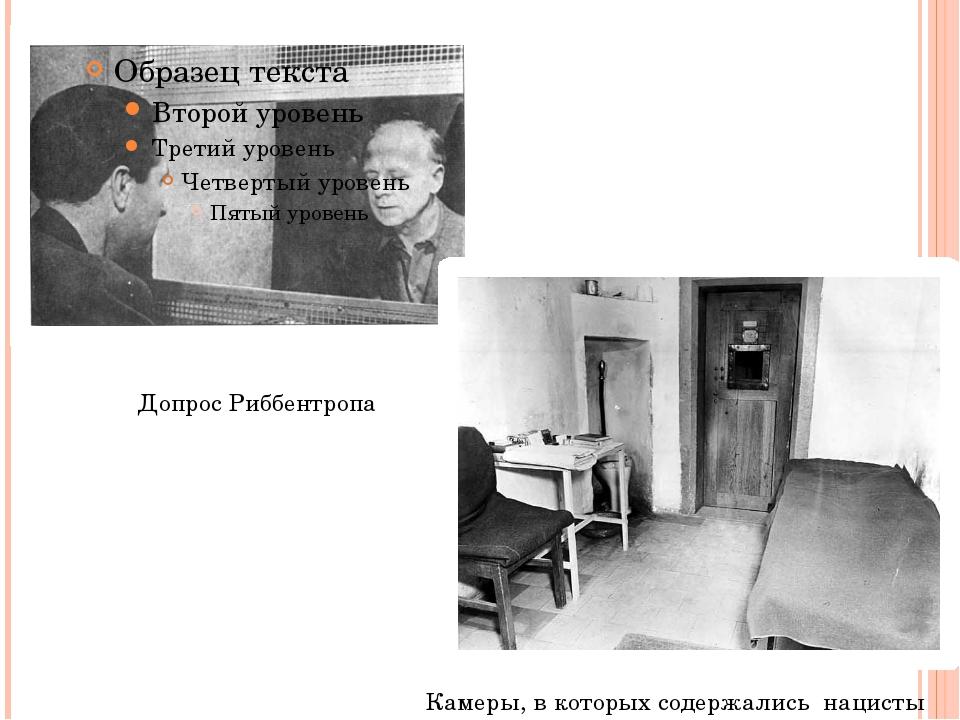 Допрос Риббентропа Камеры, в которых содержались нацисты