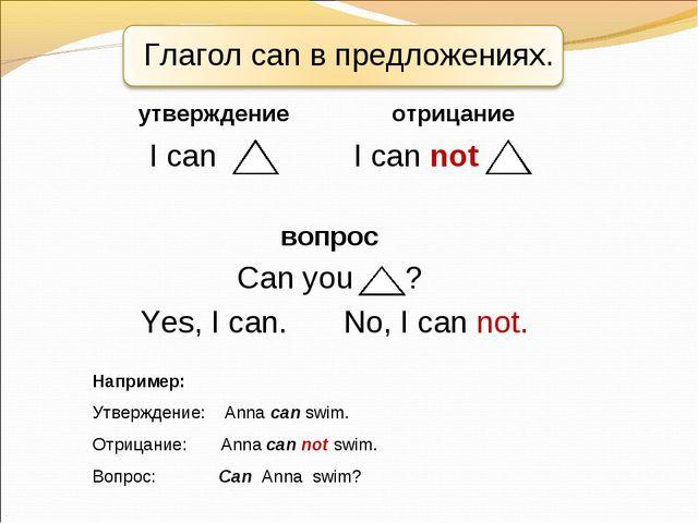 Глагол can в предложениях. Например: Утверждение: Anna can swim. Отрицание: A...