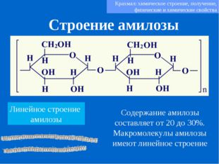 Строение амилозы Крахмал: химическое строение, получение, физические и химиче
