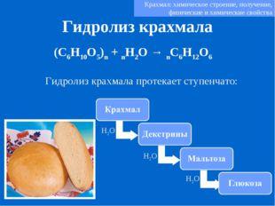 Гидролиз крахмала (C6H10O5)n + nH2O → nC6H12O6 Гидролиз крахмала протекает ст