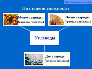 Углеводы Моносахариды (глюкоза, галактоза) Дисахариды (сахароза, мальтоза) По