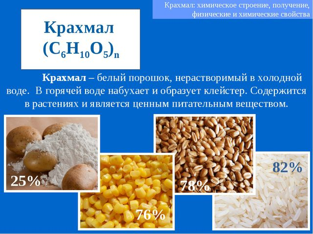 Крахмал (C6H10O5)n Крахмал – белый порошок, нерастворимый в холодной воде. В...
