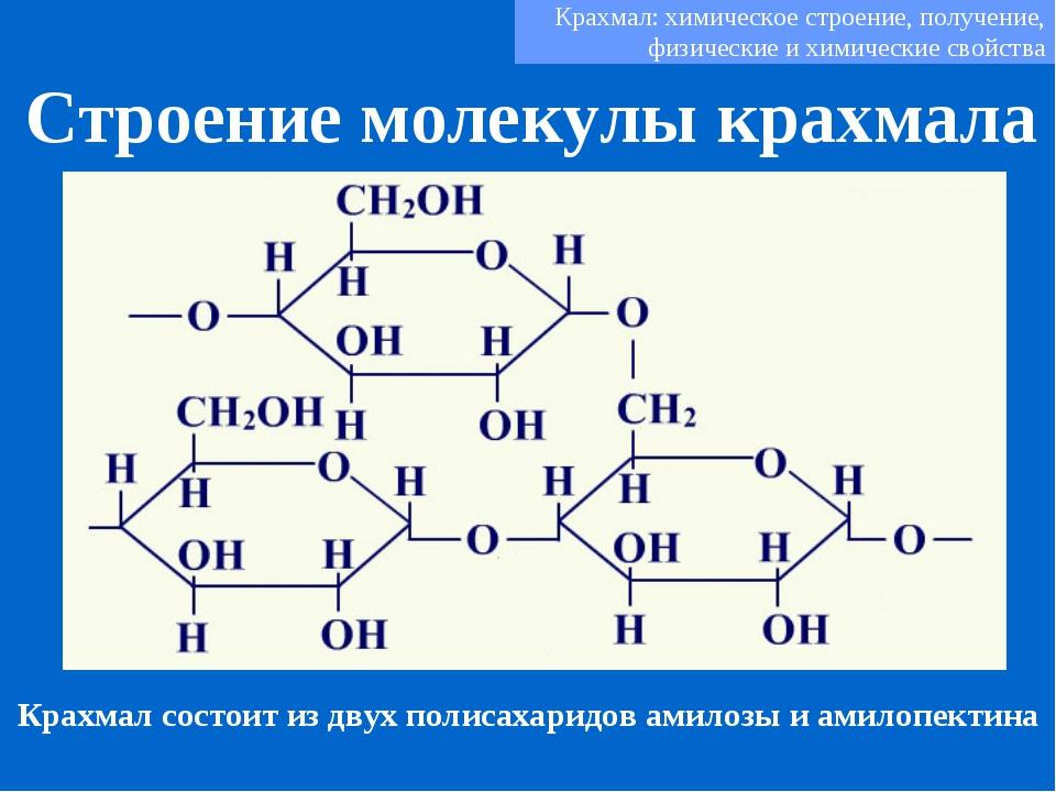 Строение молекулы крахмала Крахмал: химическое строение, получение, физически...