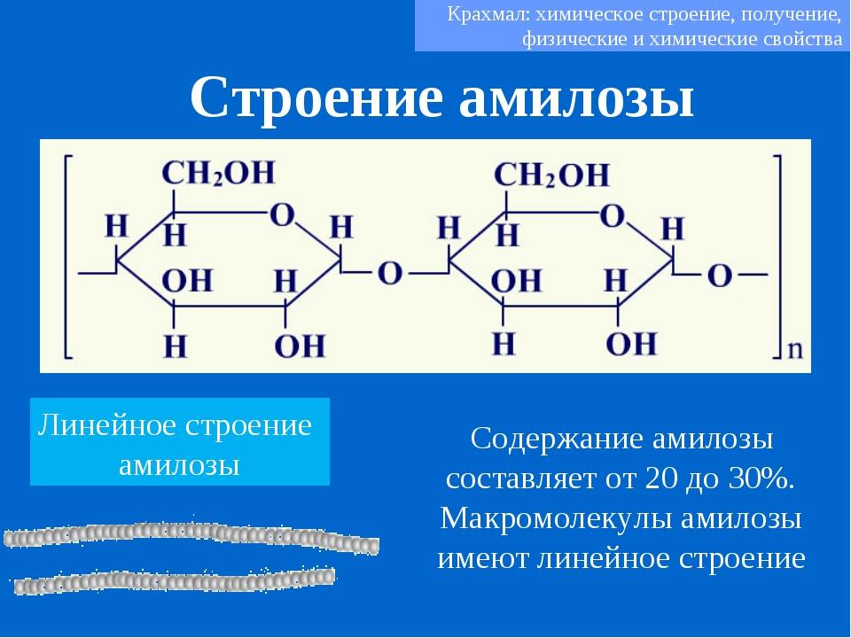 Строение амилозы Крахмал: химическое строение, получение, физические и химиче...