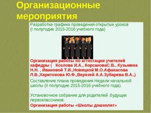 Организационные мероприятия Разработка графика проведения открытых уроков (I