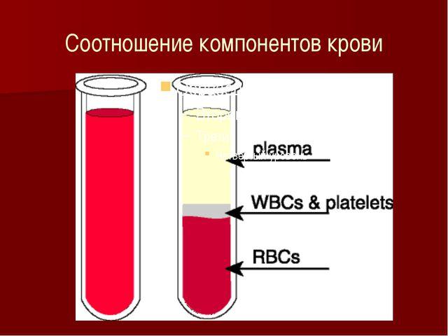 Соотношение компонентов крови