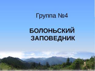 Группа №4 БОЛОНЬСКИЙ ЗАПОВЕДНИК