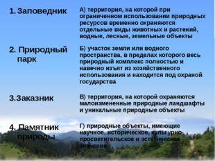 Заповедник А) территория, на которой при ограниченном использовании природны