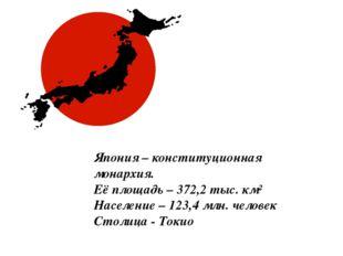 Япония – конституционная монархия. Её площадь – 372,2 тыс. км² Население – 12