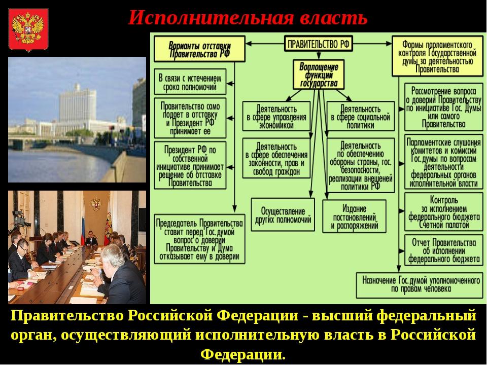 Исполнительная власть Правительство Российской Федерации - высший федеральны...