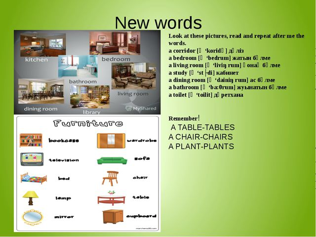New words Look at these pictures, read and repeat after me the words. a corri...